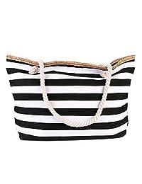TOTZY Canvas Beach Bag Large Stripe Handbag Purse Travel Tote