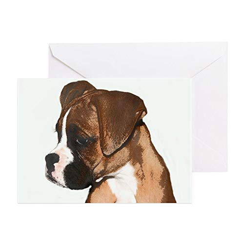 CafePress Boxer Dog Greeting Card (10-pack), Note Card with Blank Inside, Birthday Card Glossy
