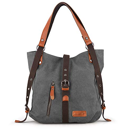 Backpack Purse Tote - SHANGRI-LA Purse Handbag for Women Canvas Tote Bag Casual Shoulder Bag School Bag Rucksack Convertible Backpack - Grey