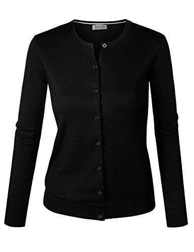 (BIADANI Women Round Neck Button Down Soft Classic Knit Cardigan Sweater Black Medium )