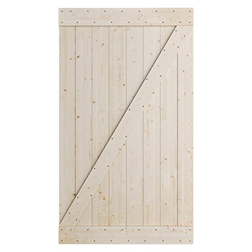 SmartStandard 48in x 84in Sliding Barn Wood Door Pre-Drilled Ready to Assemble, DIY Unfinished Solid Spruce Wood…