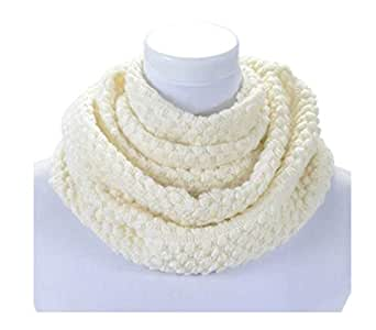 Off White Wool Infinity Scarf For Women