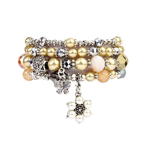 Set Pearl Lovely (RIAH FASHION Bohemian Multi Strand Faux Pearl Bracelets - Layer Beaded Statement Stretch Lovely Crystal Charm Bangles Flower, Star, Heart (Flower & Butterfly - Champagne))
