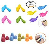 Wanty 12 Pack Pencil Grips,Silicone Ergonomic Writing Claw Aid Dolphin and Handle Style Pencils Training Grip Holder for Kids Students Kindergarten Adults Right Handed the Aged Disabled Hands
