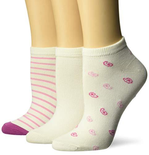 Hanes Women's ComfortSoft Low Cut Socks 3-Pack, ivory/rose print, 9-11 (Shoe Size 5-9) (Ivory Womens Socks)