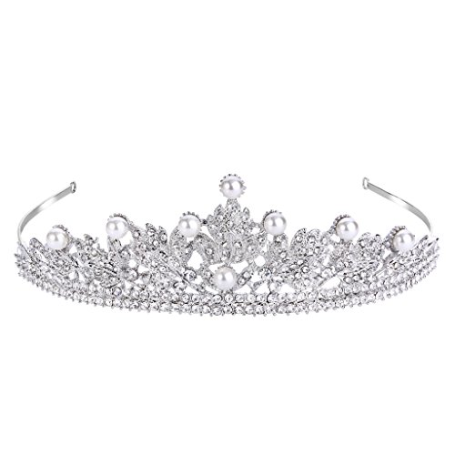 FANZE Women's Austrian Crystal Cream Simulated Pearl Victorian Style Flower Leaves Bridal Crown Tiara Hairband (Victorian Style Pearl)
