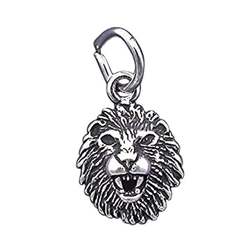 (925 Sterling Silver Lion Head Charm Small Miniature Leo Zodiac Jewelry Making Supply, Pendant, Charms, Bracelet, DIY Crafting by Wholesale Charms )
