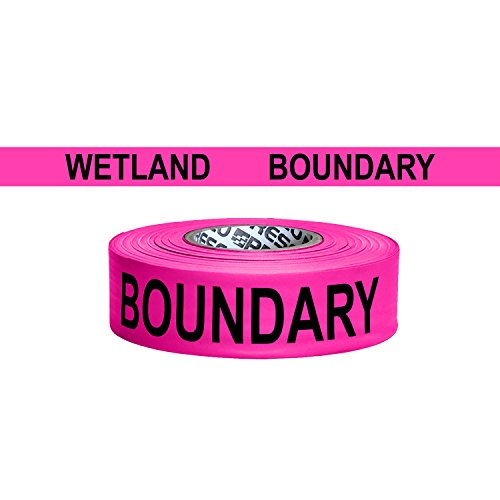 Presco Printed Roll Flagging Tape: 1-1/2 in  x 50 yds  (Neon Pink with  Black