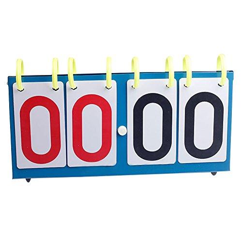MOOUS 4-Digital Portable Table Top Scoreboard Score Flipper Flip Scoreboard for Volleyball Basketball Table Tennis Football(Blue)