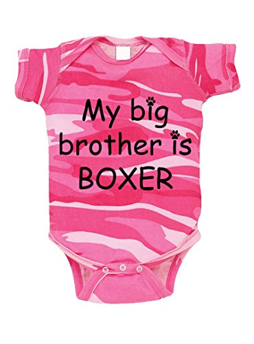 My Big Brother Is Boxer Camo Baby Bodysuit One Piece Pink Woodland 18 - Woodland Boxers Camouflage