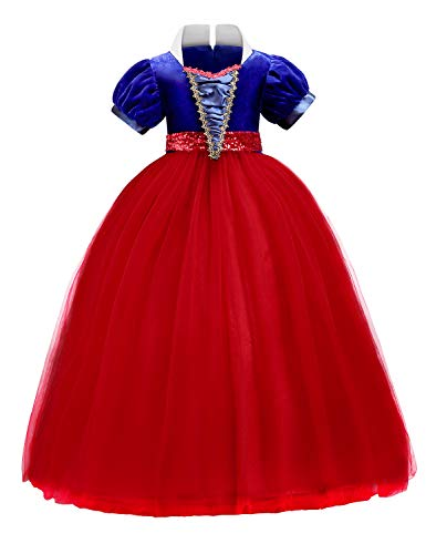 Quinee Disney Princess Dress Up, Kids Snow White Costume Floor Length Stand Up Collar Tulle Overlay Multi-Layer Maxi Gown Sequin Belt Hidden Zipper Carnival Ball Dresses for Special Occasions Red 140