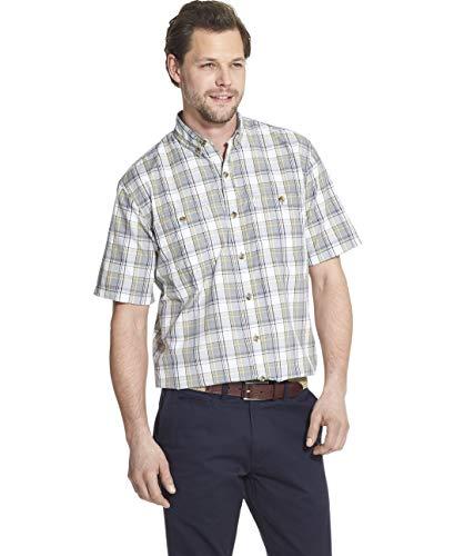 (G.H. Bass & Co. Men's Explorer Short Sleeve Fishing Shirt Plaid Button Pocket, Shark Skin 2,)