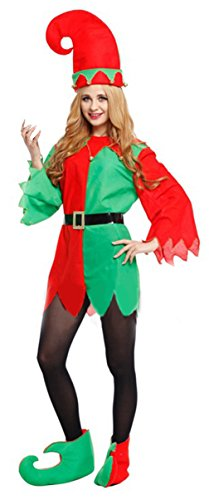 Jelord Women Christmas Elf Costume Santa Helper Cosplay Outfits