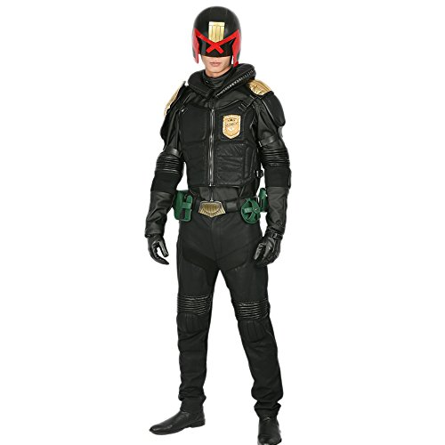 Xcoser Judge Dredd Costume Black PU Leather Uniform
