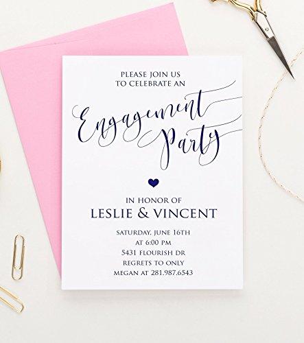Engagement Announcement Invitations (Elegant Engagement Party Invitation, Engagement Announcements, Engagement Party Invitations, Your choice of quantity and envelope color)