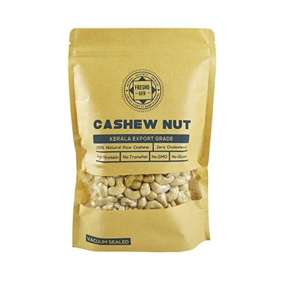 FreshoGen Cashew Nut Kerala Origin Premium Whole Kaju Plain & Raw Cashew Nut (400 Grams)