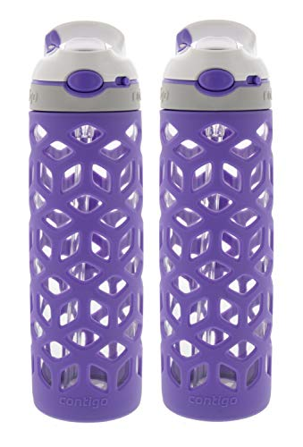 Contigo AUTOSPOUT Straw Ashland Glass Water Bottle w/Silicone Sleeve - BPA Free & Top Rack Dishwasher Safe–Tasteless & Odorless Drinking - Great for Sports, Gym, Home, Travel, 20oz, Grapevine (2 Pack) ()
