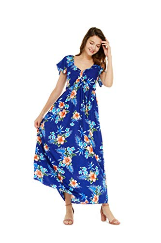 Women's Hawaiian Maxi Ruffle Sleeve Dress in Hibiscus Blue