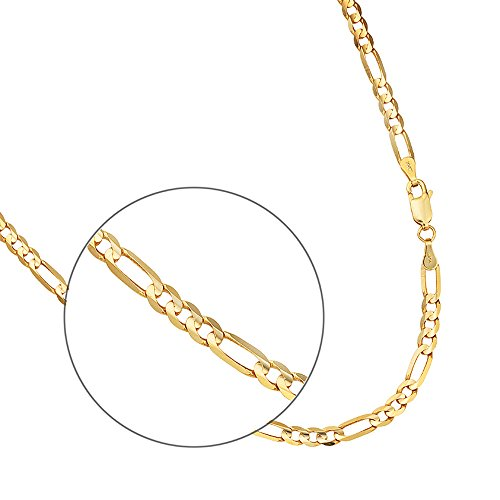 14k Yellow Gold 2.6mm Figaro Link Hollow Chain Necklace 16 to 24 Inches with Lobster Clasps