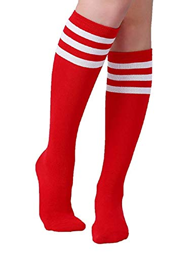 5a007d59a16 Women Girls Knee High Socks Funny Cute Over Calve Athletic Soccer Football  Cool Cosplay Costume Tube Socks Red And White Stripe