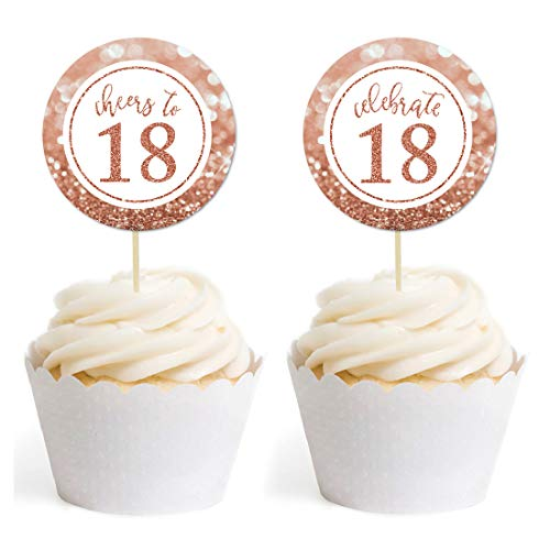 Andaz Press Glitzy Faux Rose Gold Glitter Round DIY Cupcake Toppers, Cheers to 18 Years, 18th Birthday or Anniversary, 20-Pack, Cake Dessert Party Decor