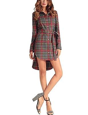 Lentta Women's Long Sleeve Button Down High Low Plaid Mini Shirt Dress with Belt