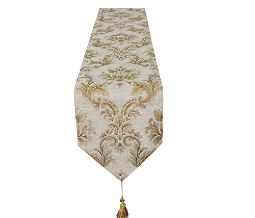 Lovein Table Runner Christmas Decorative Beige Floral Pattern Luxury Polyester Embroidery Fabric Tablerunner for Kitchen Dinning(13x95-Inch)