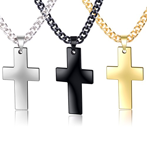 Paxuan 3pcs Mens Womens Simple Silver Gold Black Stainless Steel Cross Pendant Chain Necklace Sets for Men Women, 22''/24'' (35203mm + 22''chain)