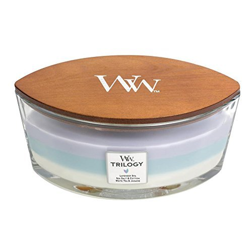 CALMING RETREAT WoodWick New Trilogy Collection HearthWick Flame Large Oval Jar 3-in-1 Scented Candle - 16 Ounces