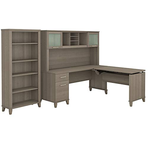 Bush Furniture Somerset 72W 3 Position Sit to Stand L Shaped Desk with Hutch and Bookcase in Ash Gray ()