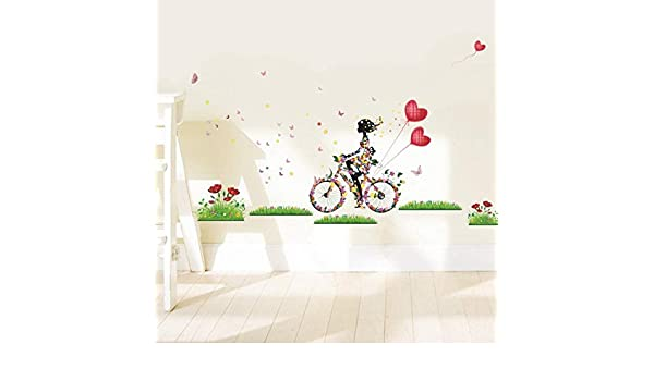 Wanghan Chica Linda Montando En Bicicleta Pegatinas De Pared Para ...