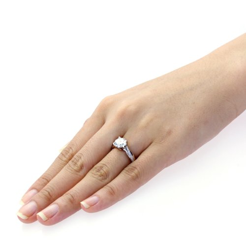 Engagement Rings Kuwait: Sterling Silver Round Brilliant Cut 2 Carat Simulated