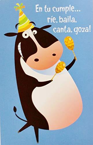 - En Tu Cumple Rie, Baila, Canta, Goza! Funny Cute Feliz Cumpleanos Happy Birthday Greeting Card with Dancing Cow in Spanish Espanol