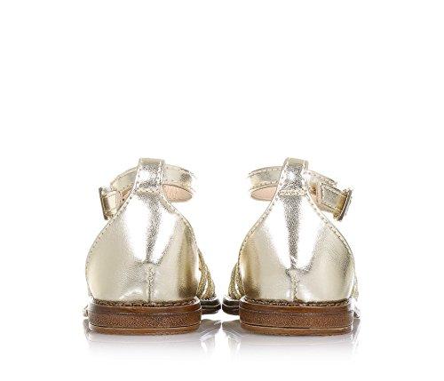 LIU JO - Sandale dorée en cuir et glitter, made in Italy, avec fermeture avec boucle, fille