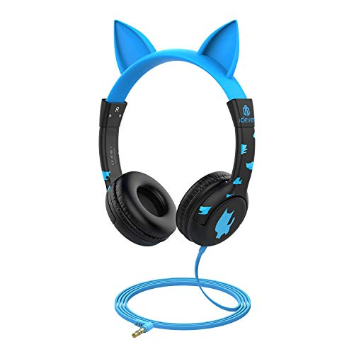 iClever Kids Headphones, Cat-Inspired Wired On-Ear Headsets with 85dB Volume Limited, Food Grade Silicone Material (Kids-Friendly), 3.5mm Audio Jack Cable, Children Headphones for Kids, Blue]()