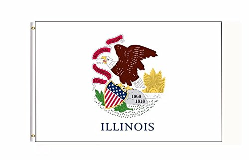 Illinois US State Flag Banner 3Ft x 5Ft Polyester Printed With Grommets