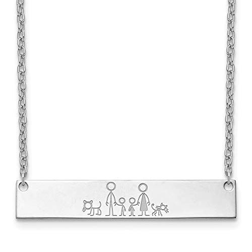 Sterling Silver Custom Designed Personalized Stick Family Icon Pendant Necklace 2