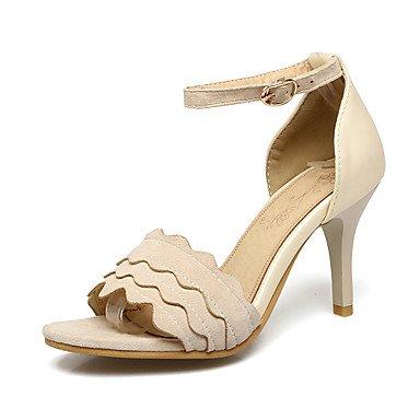 Sandalias Primavera Verano Otoño Zapatos Club Fleece Oficina & Carrera parte & traje de noche Stiletto talón hebilla Beige Rosa Negro Beige