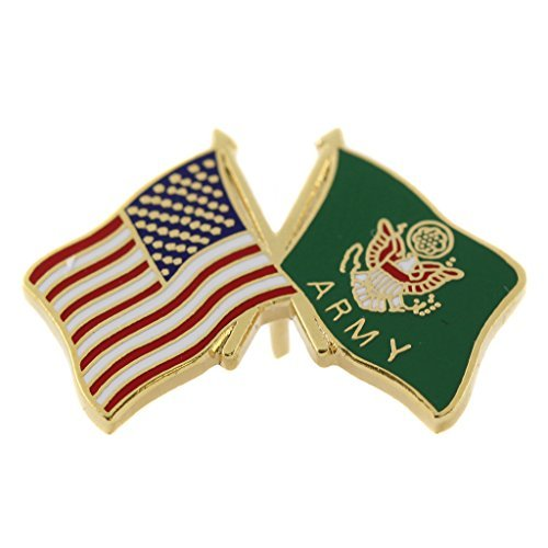 Mitchell Proffitt United States Army Seal Flag with American Flag Pin Military Collectibles, Red White Blue Green Gold, 1 inch