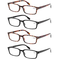 52a11458296bd7 READING GLASSES 4 Pack Spring Hinge Comfort Readers Plastic Includes Sun  Readers