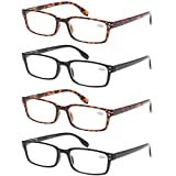 READING GLASSES 4 Pack Spring Hinge Comfort Readers Plastic Includes Sun Readers (2 Black 2 Tortoise, 2.00)