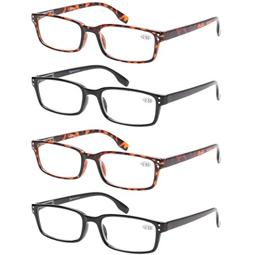 READING GLASSES 4 Pack Spring Hinge Comfort Readers Plastic Includes Sun Readers (2 Black 2 Tortoise, 1.25)