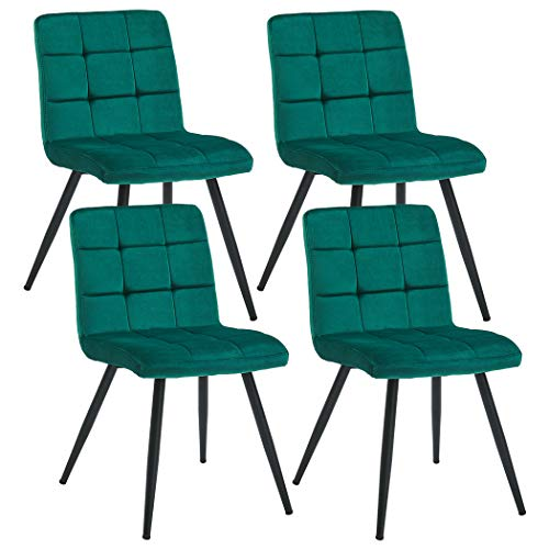 Velvet Dining Chairs for Dining Room, Modern Side Leisure Upholstered Modern Chairs, Accent Chairs for Living Bed Room Metal Legs Mid-Back Support, Set of 4 Atrovirens (Metal Chairs Dining Upholstered)
