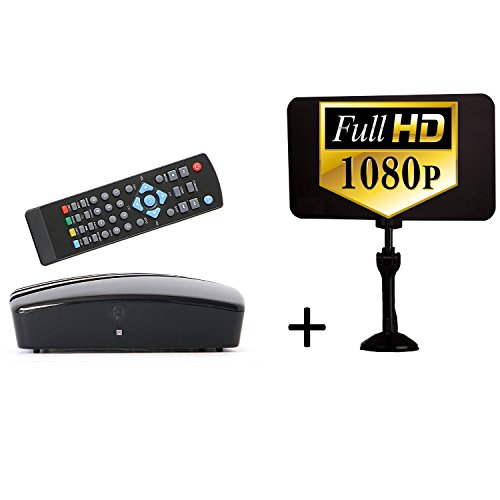 Digital Converter Box + Digital Antenna Bundle To View and Record Over The Air HD Channels For FREE (Instant or Scheduled Recording, 1080P HDTV, High Resolution, HDMI Output And 7 Day Program Guide)