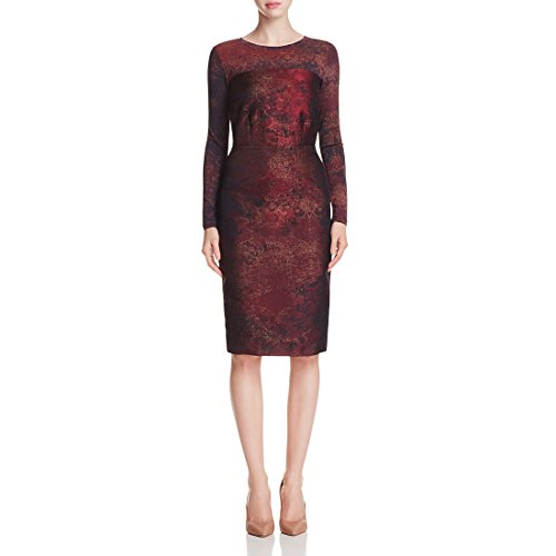 MaxMara Women's Varna Jacquard Sheath Dress Sz 4 Bordeaux