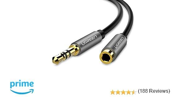 Ugreen - Cable 3.5 mm Macho a Hembra Alargador Auxiliar de Audio Estéreo con Conector Dorado para iPhone, iPad, Smartphones, Tablets o Reproductores ...