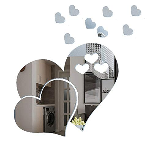ZeoJard 2Set/20pcs 3D Mirror Wall Sticker Acrylic Heart-Shaped Mirror Stickers Removable Heart Art Decor Wall Poster Living Room Wedding Room Home -