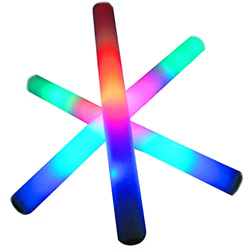 Adorox 18 Inch Multi-color Changing 3 Modes Flashing Light up Foam Glow Sticks LED Rave Baton Party Favor Wand