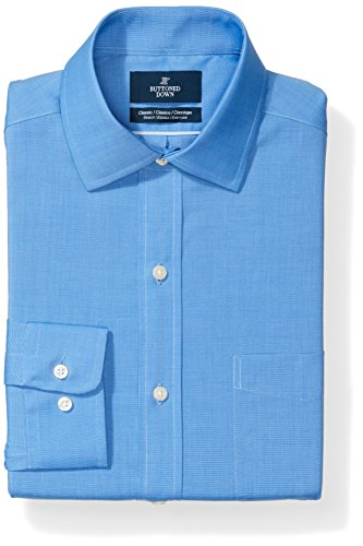 French Blue Apparel - Buttoned Down Men's Classic Fit Stretch Poplin Non-Iron Dress Shirt, French Blue, 18