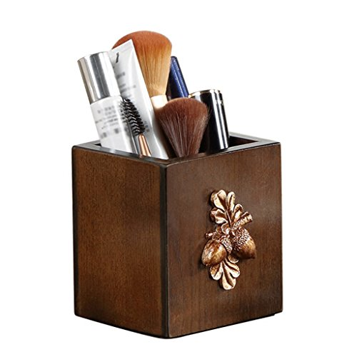 (Pen Holder Solid Wood Pen Pot Fashion Shelf Cosmetic Case Pencil Case Desk Storage Box Pine Cone)